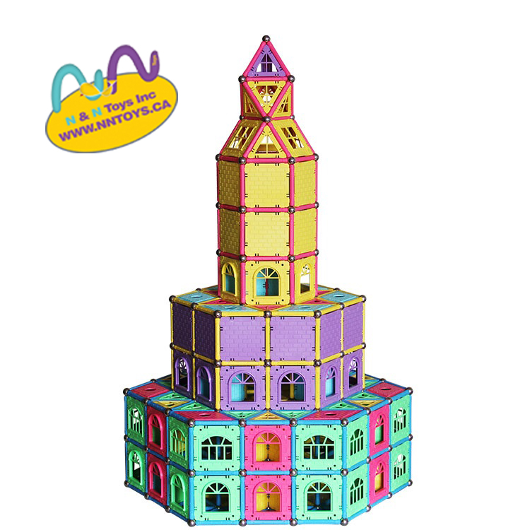 Magnetic building blocks foster brain development through fun and educational exploration. With high quality, durable construction and intelligent magnetic design, the possibilities and endless! Set includes the best materials, High Quality ABS Plastic and N38 magnets on side of the shape.